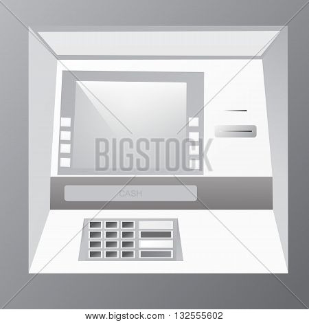 Bankomat vector illustration in grey shades. ATM machine for operations with money front view.