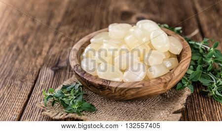 Wooden Table With Menthol Candies