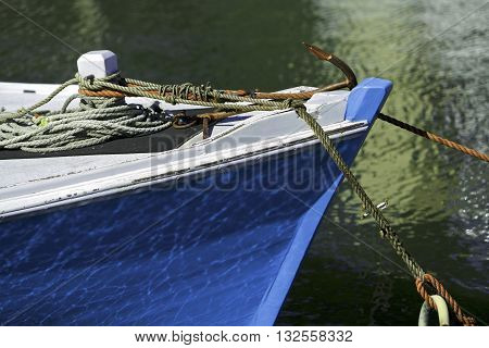 Blue wooden boat in the Melbourne harbor, Australia