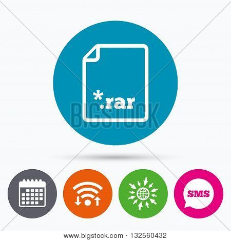 Wifi, Sms and calendar icons. Archive file icon. Download compressed file button. RAR zipped file extension symbol. Go to web globe.