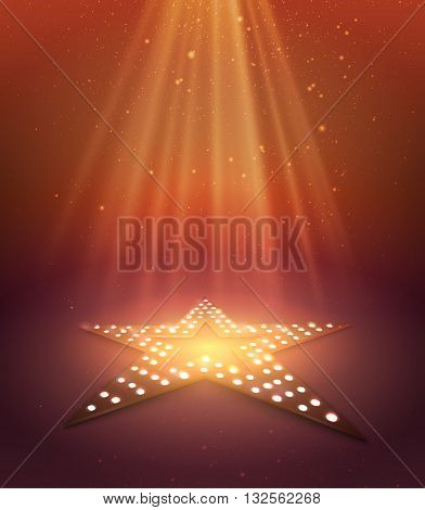 Star orange retro light banner. Vector illustration