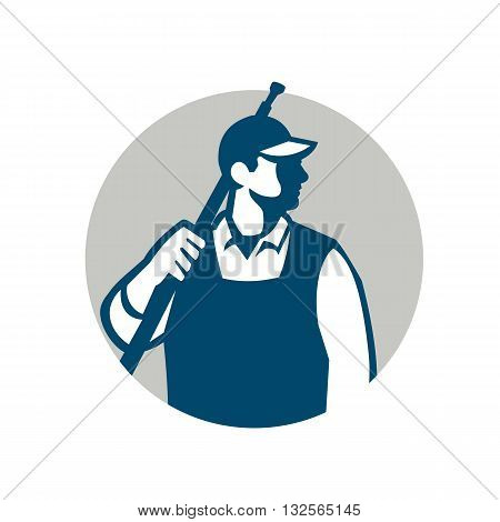 Illustration of a male pressure washing cleaner worker holding a water blaster on shoulder looking to the side viewed from front set inside circle on isolated background done in retro style.