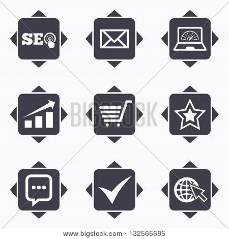 Icons with direction arrows. Internet, seo icons. Tick, online shopping and chart signs. Bandwidth, mobile device and chat symbols. Square buttons.