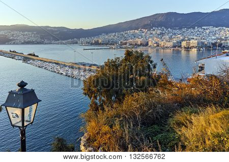 Amazing sunset in Kavala, East Macedonia and Thrace, Greece poster
