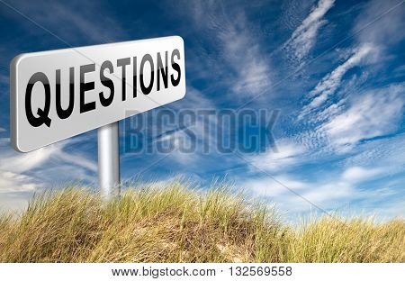 questions and solutions need serious answers helps or support desk information answer question with text and word concept 3D illustration