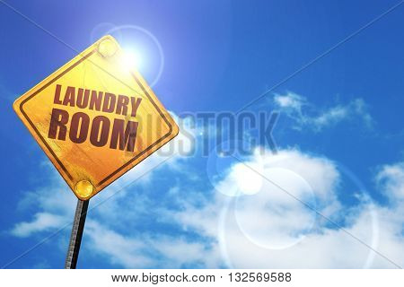 laundry room, 3D rendering, glowing yellow traffic sign