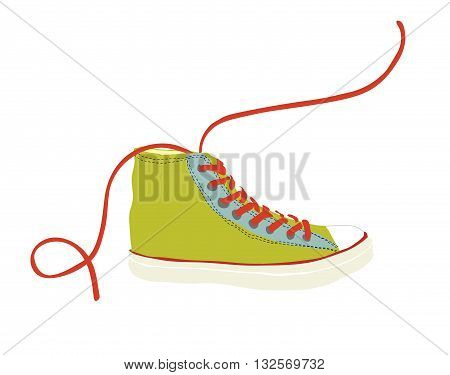 Green sneaker hipster youth simple vector illustration isolated. Red shoelace