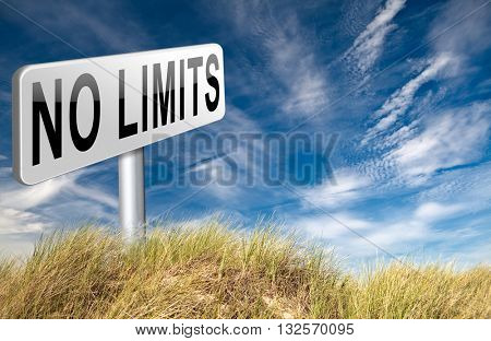 no limits or boundaries unlimited and without restrictions road sign billboard 3D illustration