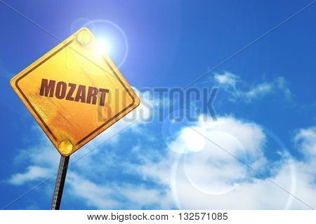 mozart, 3D rendering, glowing yellow traffic sign