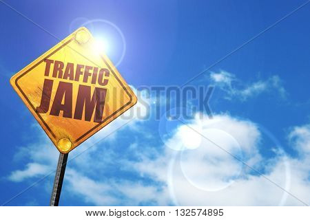 traffic jam, 3D rendering, glowing yellow traffic sign