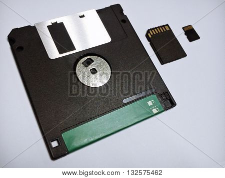 From past to present the diskette SD card Micro SD card