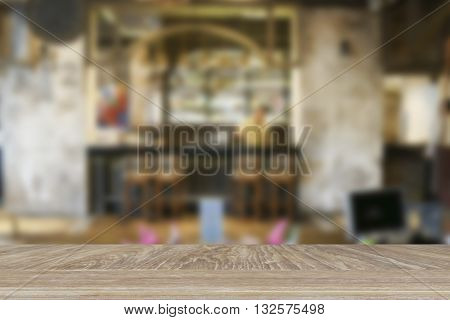 Wooden Table For Display Or Montage Your Product With Blur Background Of Glasses And Bottle Of Bever
