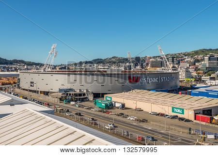 Wellington New Zealand - November 17 2014: Westpac Stadium (The Cake Tin) in Wellington home of Wellington Phoenix F.C.