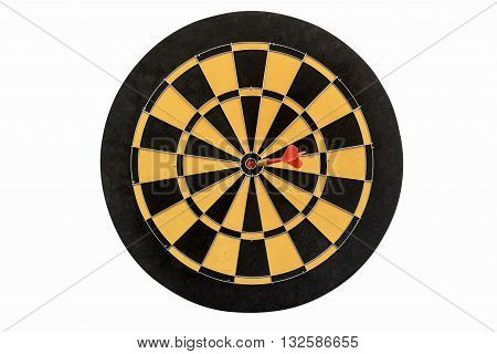 dart target hitting in bullseye on no number of dartboard isolated on white background include clipping path abstract backgroud for success business education marketing and goals