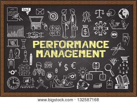 Hand drawn business icons about Performance Management on chalkboard for banner,presentation,illustration and so on - Stock Vector