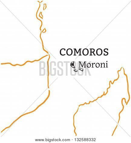 Comoros country with its capital Moroni in Africa hand-drawn sketch map isolated on white