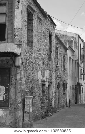 Black and white shot of old houses in Chania on Crete Greece