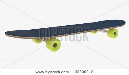 3d illustration of skateboard. icon for game web. texture yellow color. white background isolated with shadow. simple to use. adult sport. active life. skateboard deck