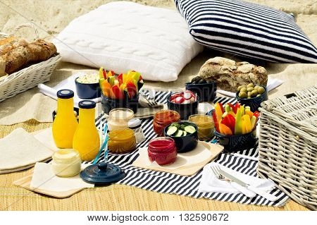 Summer picnic on the beach. Serving picnic utensils blue with vegetables and sauces on striped tablecloths and knitted pillow. Selective focus.