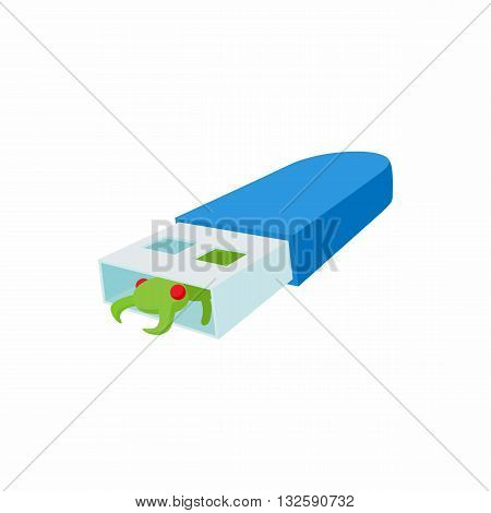 Infected USB flash drive icon in cartoon style on a white background