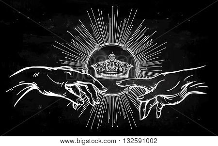 God and Adams hands. Genesis Hands with divine kings crown. Hope faith and help, assistance and support in religion. Isolated vector illustration. Tattoo design, spiritual symbol for your use.