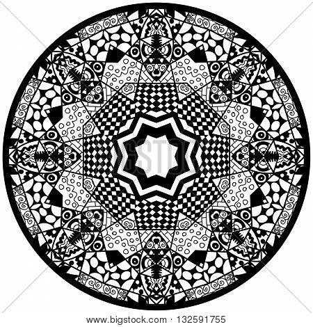 Mandala. Round ornament pattern. Decorative element. Mandala in black color. Mandala for anti stress adults coloring book. Mandala design.