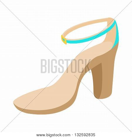 Biege high heel shoe icon in cartoon style on a white background
