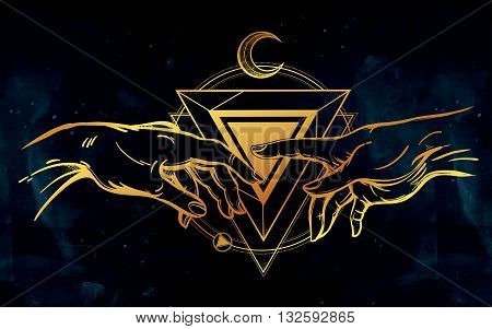 God and Adams hands. Creation of Adam. Hands with sacred symbol. Hope faith and help, assistance and support in religion. Isolated vector illustration. Tattoo design, spiritual symbol for your use.