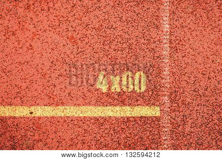 Yellow Marks. White Lines And Texture Of Running Racetrack, Red Racetracks In Outdoor Stadium