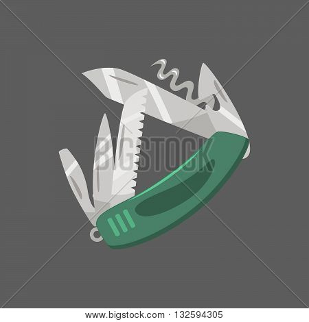 Penknife. Isolated vector object on dark background.