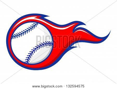 Vector stock of baseball with flames sign symbol