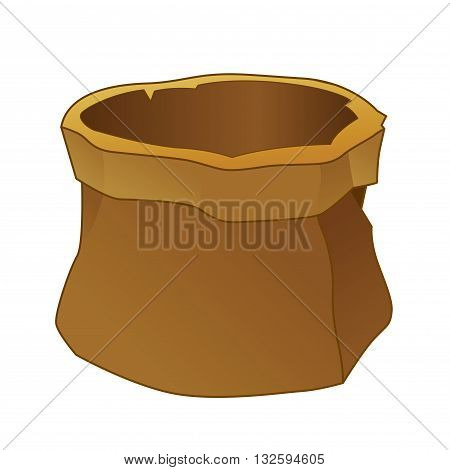 Vector stock of empty brown canvas sack or bag