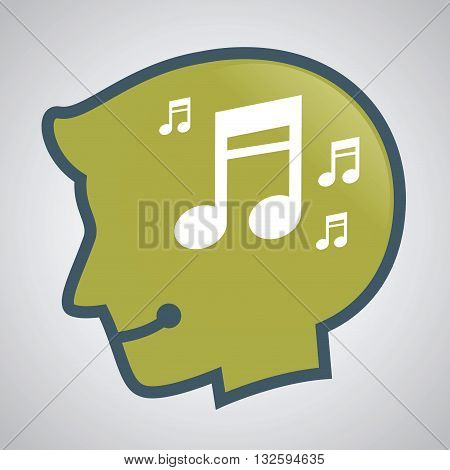 Vector stock of human head silhouette with musical note inside