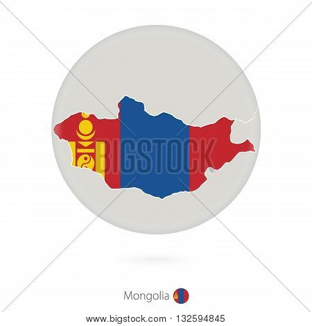 Map Of Mongolia And National Flag In A Circle.