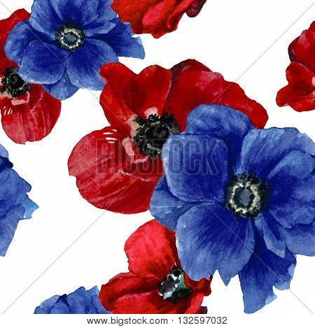 Red and blue anemones flower beautiful watercolor pattern isolate on white