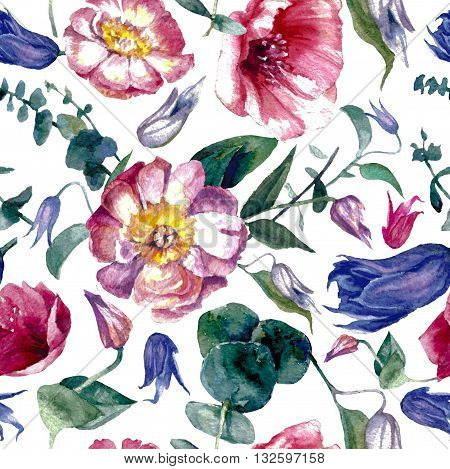 Flower pattern and print watercolor painting isolate on white background