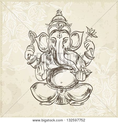 Hand drawn vector illustration of Sitting Lord Ganesha in Mandala Frame. For Tattoo, yoga, spirituality.