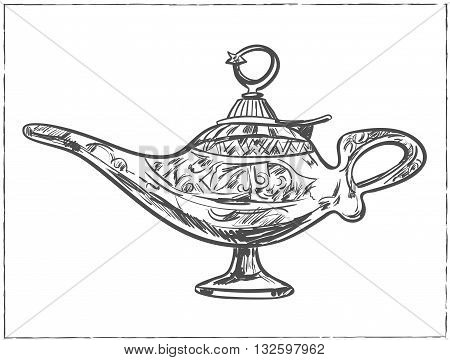 Magic arabic lamp for holy month of muslim community, Ramadan Kareem celebration. Sketch Old style oil lamp. Vector isolated illustration.