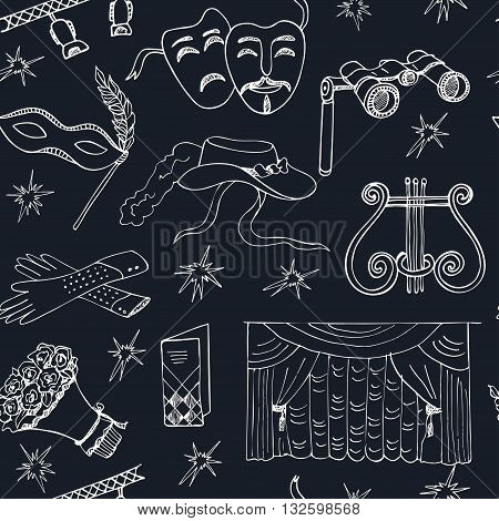 Hand drawn doodle Theater seamless patternMasks Lyra Flowers Curtain stage Sketches. Hand-drawing. Vector illustration of for design and packages product.