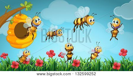 Bees flying out of beehive in the garden illustration