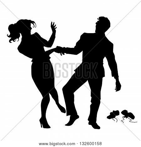 Businessman and businesswoman dancing pop art retro vector. Black silhouette. Holiday party. Conceptual business vector. Figure form icon.