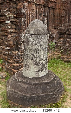 Linga symbol, made of stone lingam in My Son ruin ancient heritage, Vietnam