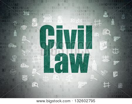 Law concept: Painted green text Civil Law on Digital Data Paper background with  Hand Drawn Law Icons