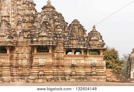 10th century hindu temple Kandariya Mahadeva structure of the complex of Khajuraho Group of Monuments. UNESCO World Heritage site in India