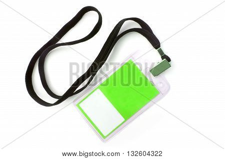 Green Name Tag Isolated On White Background