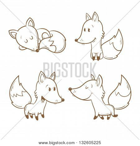 Cute cartoon foxes set. Funny forest animals. Four foxes  in different poses. Children's illustration. Vector contour image. Transparent background.