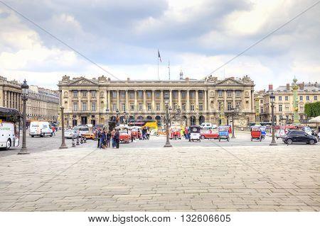 PARIS FRANCE - April 30.2014: Tourists and citizens on the Place de la Concorde in historical part of city