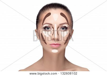 Contouring.make Up Woman Face.