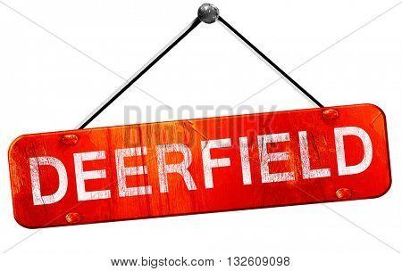 deerfield, 3D rendering, a red hanging sign