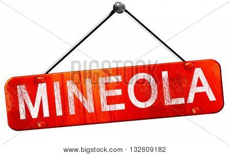 mineola, 3D rendering, a red hanging sign